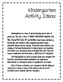 Kindergarten Activity Ideas (Great for Spanish or Bilingua