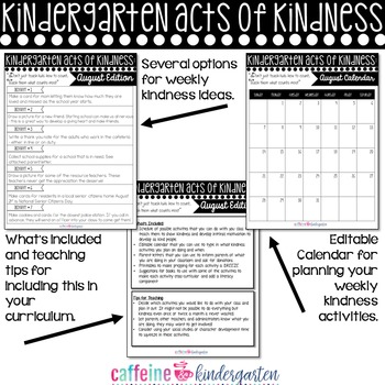 Kindergarten Acts of Kindness - August Edition