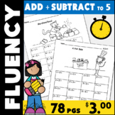 Addition and Subtraction Math Facts Fluency Kindergarten:  53 Pages