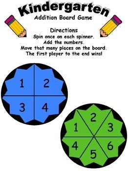 Kindergarten Addition Board Game