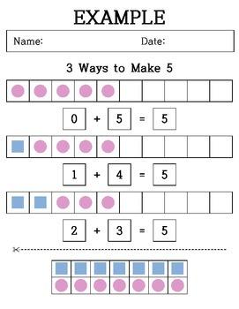 Kindergarten Addition - Cutting & Paste - 3 Ways to make  5, 6, 7 and 8
