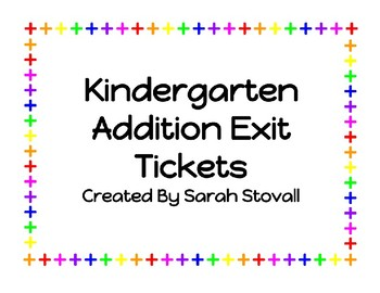 Kindergarten Addition Exit Tickets