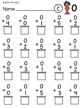Kindergarten Addition Fact Fluency Tests