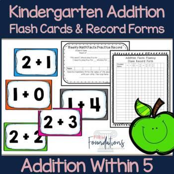 kindergarten addition flash cards fact fluency within 5 tpt. Black Bedroom Furniture Sets. Home Design Ideas