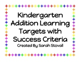Kindergarten Addition Learning Targets with Success Criteria