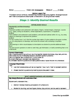Kindergarten Addition Lesson Common Core Aligned