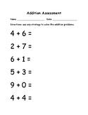Kindergarten Addition Pre/Post Assessment