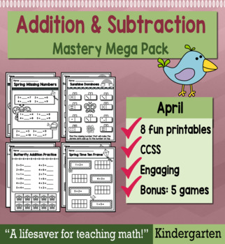 "Kindergarten Addition & Subtraction ""Mastery Pack"" for April"