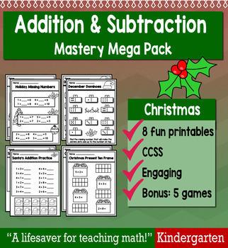 "Kindergarten Addition & Subtraction ""Mastery Pack"" for December"
