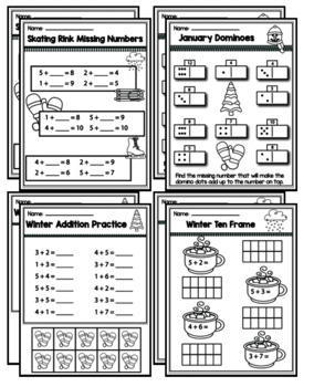 """Kindergarten Addition & Subtraction """"Mastery Pack"""" for January"""