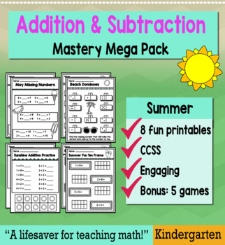 """Kindergarten Addition & Subtraction """"Mastery Pack"""" for May"""