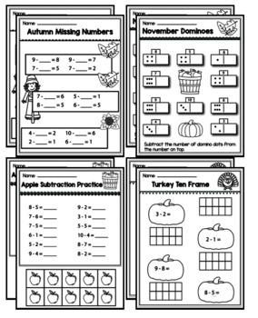 "Kindergarten Addition & Subtraction ""Mastery Pack"" for November"