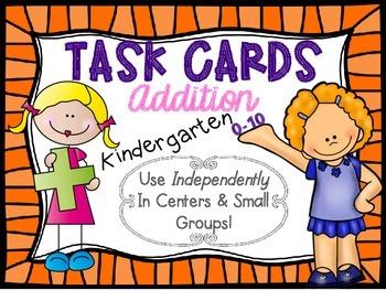 Kindergarten Addition Task Cards