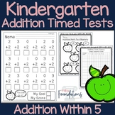 Kindergarten Addition Timed Tests- Math Fact Fluency Within 5