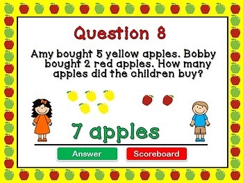 Kindergarten Addition Word Problems PPT Game