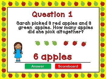 Kindergarten Addition Word Problems PPT Game