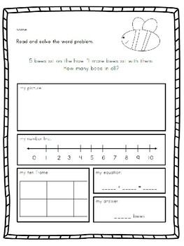 Kindergarten Addition Word Problems Set #2