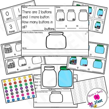 Kindergarten Addition Word Problems within 10- Buttons