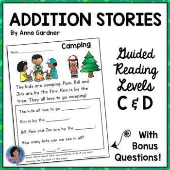 Addition Word Stories - No Prep!  (Guided Reading Levels C and D)