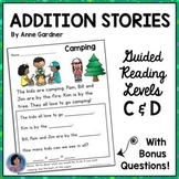 Back to School First Grade Reading Comprehension and Math Addition Word Problems
