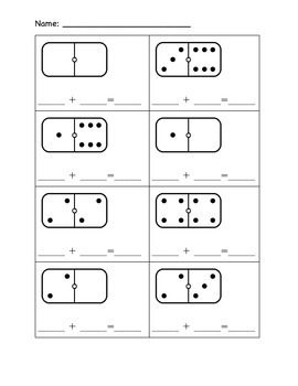 Kindergarten Addition Worksheets- Domino Addition, Pic Add
