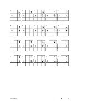 Kindergarten Addition Worksheets and Quizzes 0-5