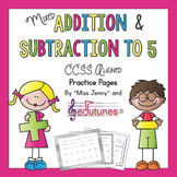 Mixed Addition and Subtraction to 5 Practice Pages | Use for Distance Learning
