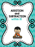 Kindergarten Addition and Subtraction Worksheets to 10