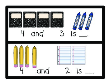 Kindergarten Addition and Subtraction Math Centers (Envision Math 7, 8 and 9)