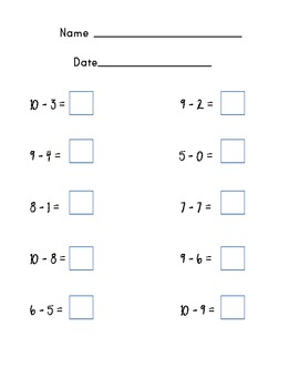 Kindergarten Addition and Subtraction Page