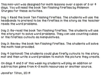 Kindergarten Addition and Subtraction Problem Solving and Math Tasks-Fireflies