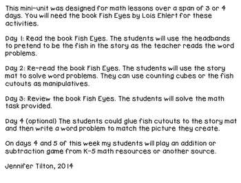 Kindergarten Addition and Subtraction Problem Solving and Math Tasks-Fish
