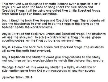 Kindergarten Addition and Subtraction Problem Solving and Math Tasks-Frogs