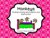 Kindergarten Addition and Subtraction Problem Solving and Math Tasks-Monkeys