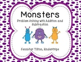 Kindergarten Addition and Subtraction Problem Solving and Math Tasks-Monsters
