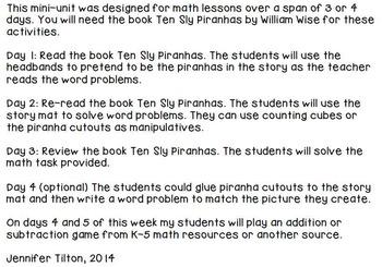 Kindergarten Addition and Subtraction Problem Solving and Math Tasks-Piranhas