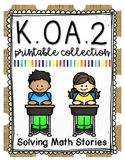 Kindergarten Addition and Subtraction Stories Printable Co