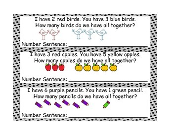 Kindergarten Addition and Subtraction Story Problem Practice Cards