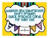 Kindergarten Addition and Subtraction Story Problem Practi