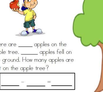 Kindergarten Addition and Subtraction Word Problem Interactive flipchart