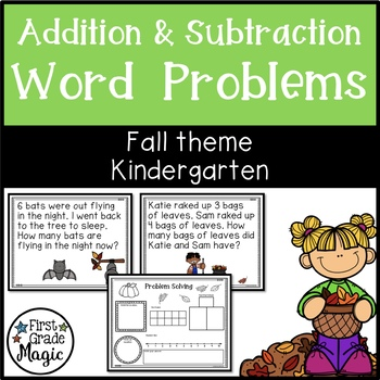 Kindergarten Addition and Subtraction Word Problems for Fall