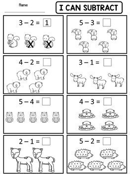 Kindergarten Addition and Subtraction Worksheets by Dana's Wonderland