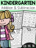 Kindergarten Addition and Subtraction Worksheets (up to 10) - Distance Learning