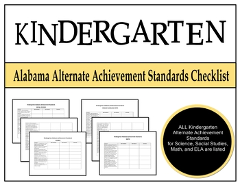 Kindergarten Alabama Alternate Achievement Standards Checklist