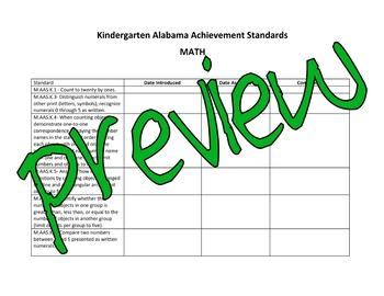 Kindergarten Alabama Alternate Achievement Standards Checklist
