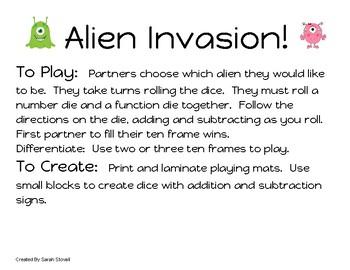 Kindergarten Alien Invasion Mixed Operations Game