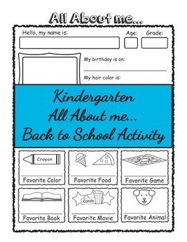 Kindergarten All About me Introduction Activity