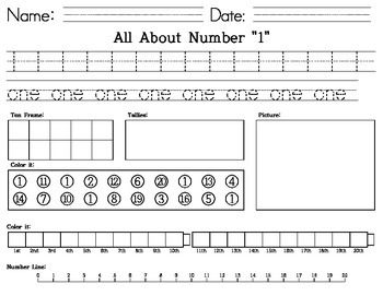 Kindergarten -All about Number 1-20