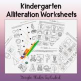 Kindergarten Alliteration Worksheets-Google Slides Included!