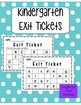 Kindergarten Alphabet Exit Tickets